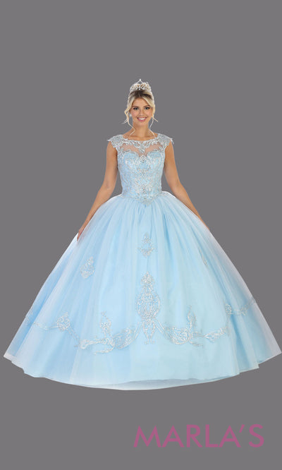 Long aqua blue princess quinceanera high neck ball gown. Perfect for light blue Engagement ballgown dress, Quinceanera, Sweet 16, Sweet 15, Debut and aqua blue Wedding bridal Reception Dress. Available in plus sizes.