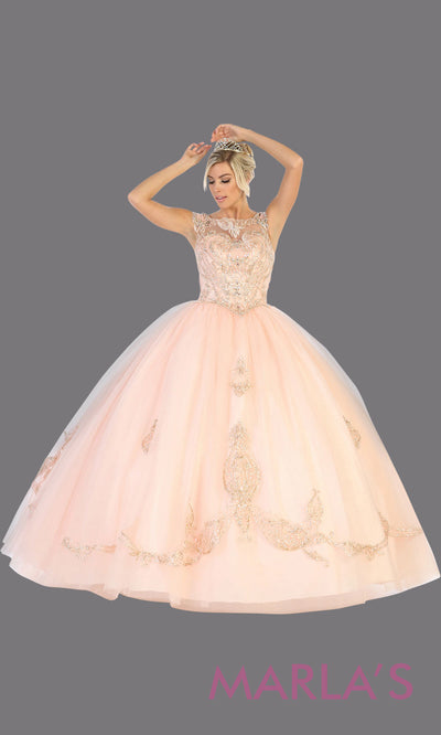 Long pink princess quinceanera high neck ball gown. Perfect for light pink Engagement ballgown dress, Quinceanera, Sweet 16, Sweet 15, Debut and blush pink Wedding bridal Reception Dress. Available in plus sizes.