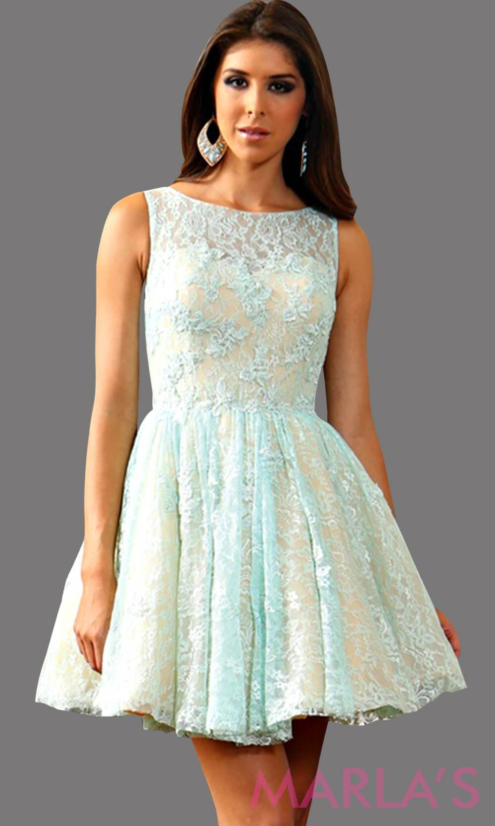 Short aqua lace dress with a high neck. This is available in plus sizes. This is the perfect grade 8 graduation dress, light blue damas dress, and homecoming