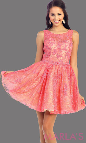 Coral Short Dress with Lace High Neck