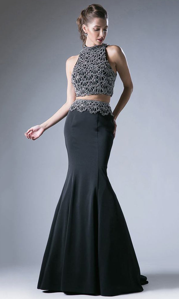 Cinderella Divine - 11574 Two Piece Mermaid Gown In Black