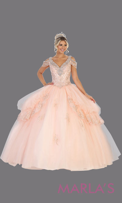 Long light pink princess quinceanera v neck w straps ball gown. Perfect for pink Engagement ballgown dress, Quinceanera, Sweet 16, Sweet 15, Debut and blush pink Wedding bridal Reception Dress. Available in plus sizes.