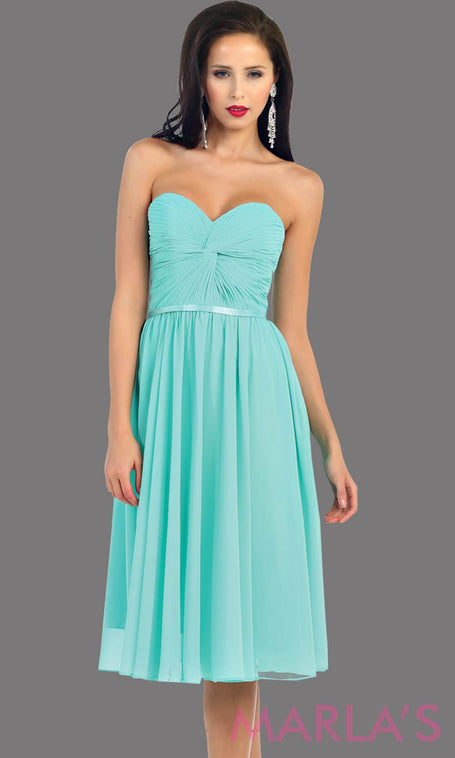 *Mint Short Flowy Plain Party Dress