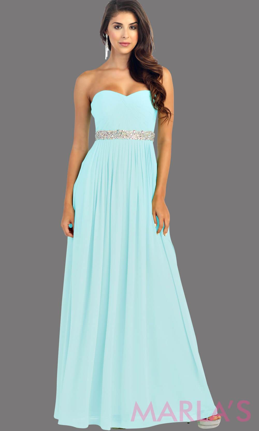 Long aqua flowy dress with corset back. It has a multicolor rhinestone belt under the bust. Perfect for bridesmaid dresses, simple prom dress, and wedding guest dress. This is available in plus sizes