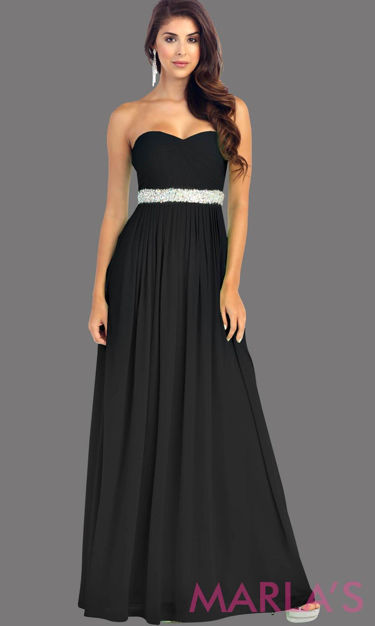 Long black flowy dress with corset back. It has a multicolor rhinestone belt under the bust. Perfect for bridesmaid dresses, simple prom dress, and wedding guest dress. This is available in plus sizes