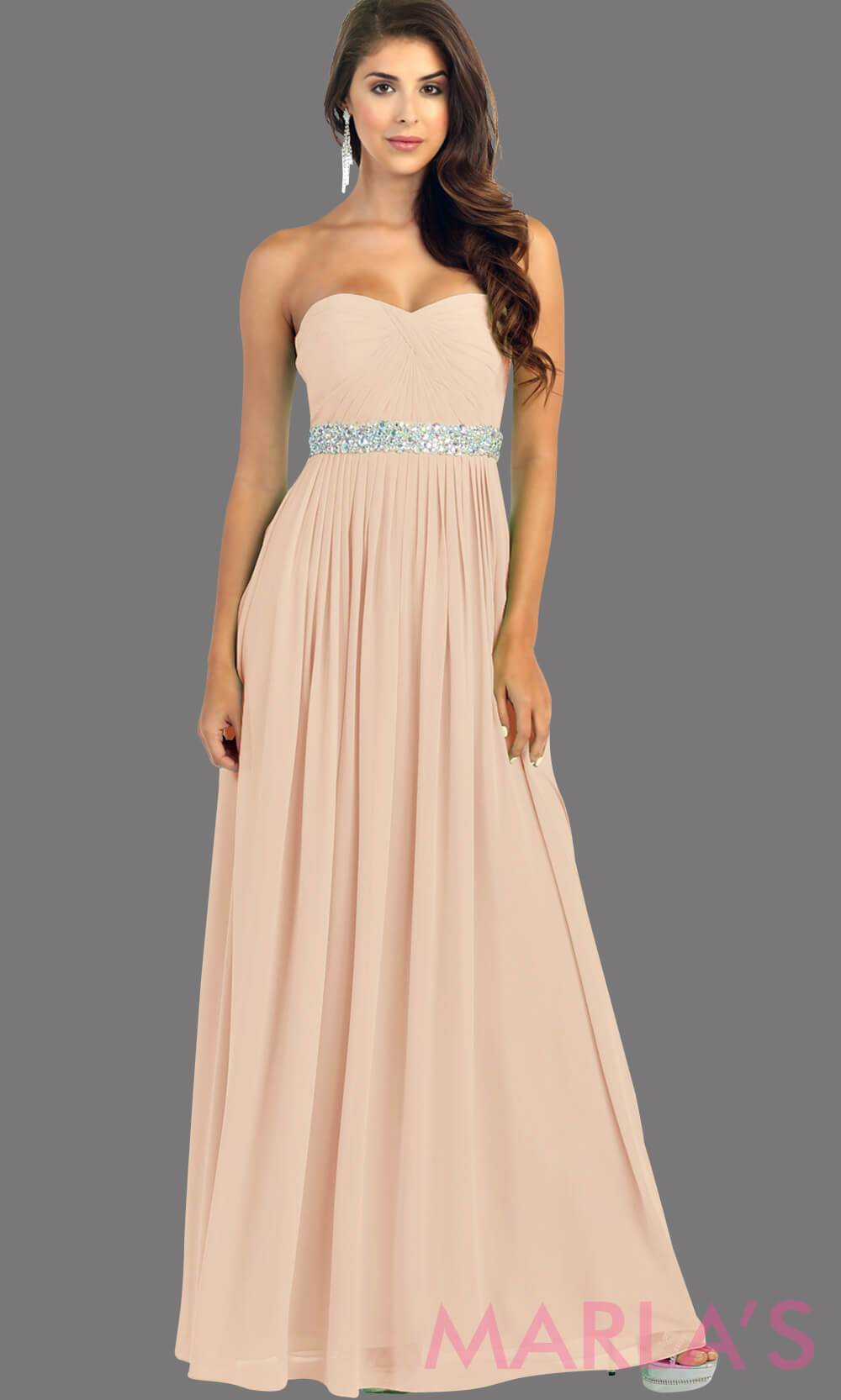 Long dusty rose flowy dress with corset back. It has a multicolor rhinestone belt under the bust. Perfect for bridesmaid dresses, simple prom dress, and wedding guest dress. This is available in plus sizes