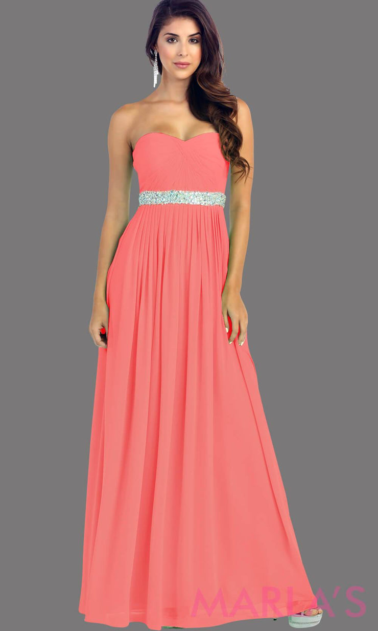 Long coral flowy dress with corset back. It has a multicolor rhinestone belt under the bust. Perfect for bridesmaid dresses, simple prom dress, and wedding guest dress. This is available in plus sizes