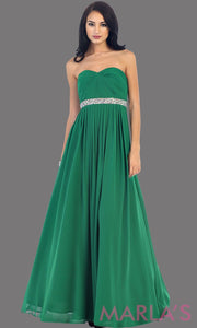 Long emerald flowy dress with corset back. It has a multicolor rhinestone belt under the bust. Perfect for bridesmaid dresses, simple prom dress, and wedding guest dress. This is available in plus sizes