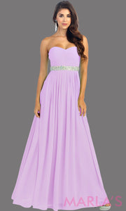 Long Lilac flowy dress with corset back. It has a multicolor rhinestone belt under the bust. Perfect for bridesmaid dresses, simple prom dress, and wedding guest dress. This is available in plus sizes