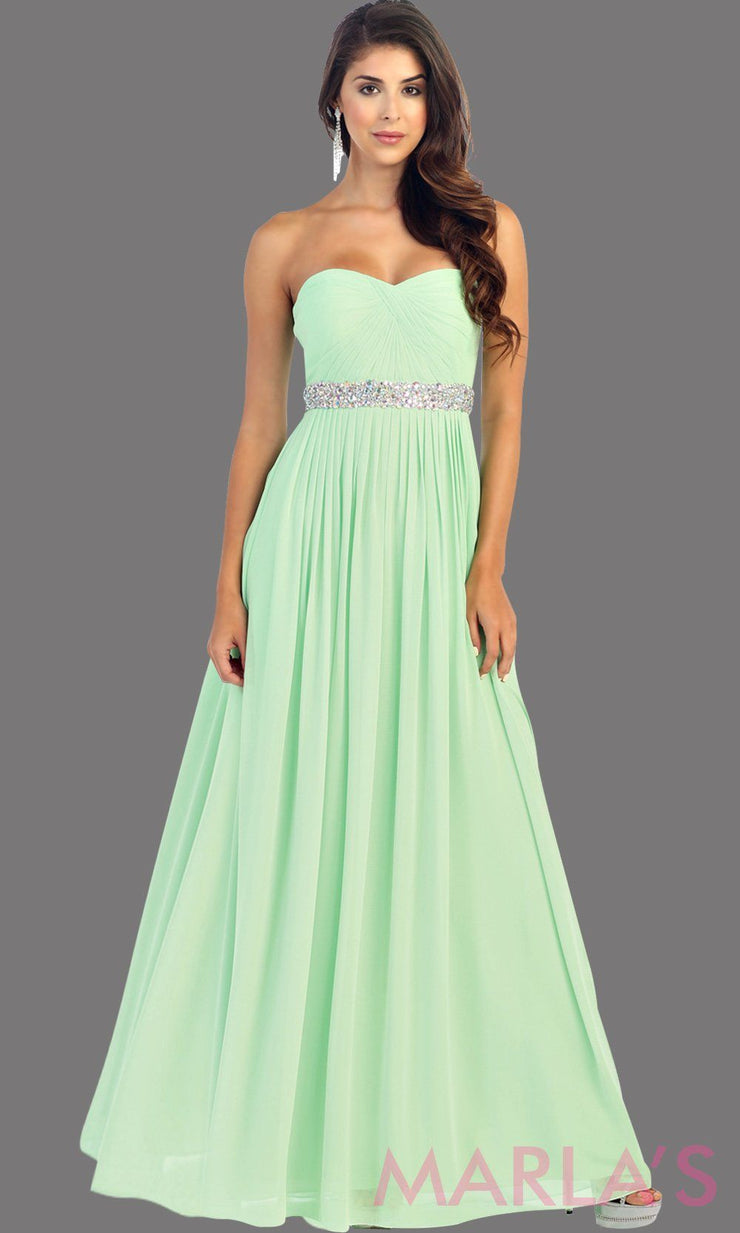 Long Mint flowy dress with corset back. It has a multicolor rhinestone belt under the bust. Perfect for bridesmaid dresses, simple prom dress, and wedding guest dress. This is available in plus sizes