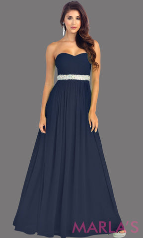 Long Navy flowy dress with corset back. It has a multicolor rhinestone belt under the bust. Perfect for bridesmaid dresses, simple prom dress, and wedding guest dress. This is available in plus sizes