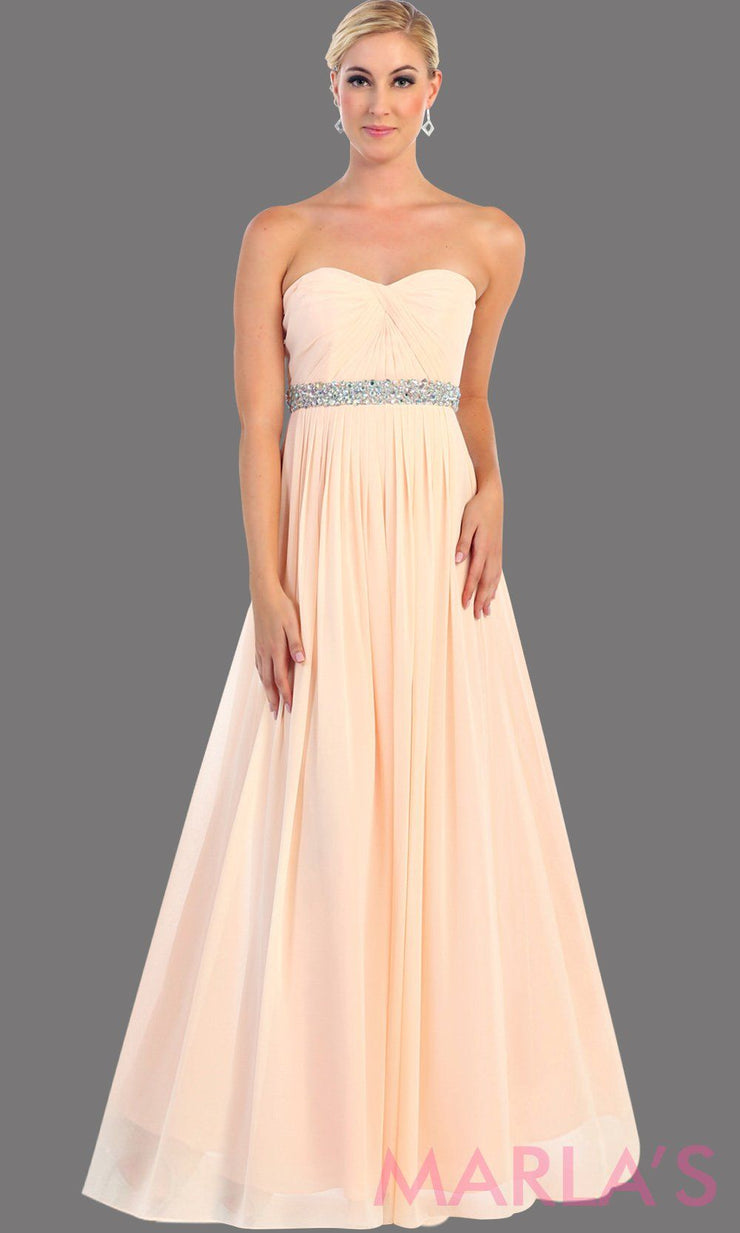 Long blush flowy dress with corset back. It has a multicolor rhinestone belt under the bust. Perfect for bridesmaid dresses, simple prom dress, and wedding guest dress. This is available in plus sizes