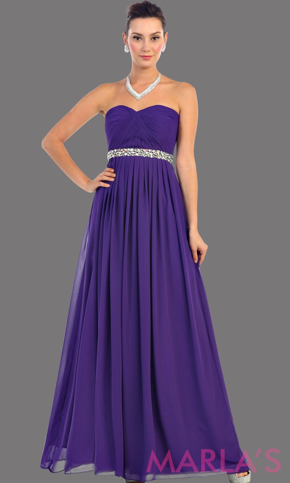 Long Purple flowy dress with corset back. It has a multicolor rhinestone belt under the bust. Perfect for bridesmaid dresses, simple prom dress, and wedding guest dress. This is available in plus sizes