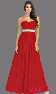 Long Red flowy dress with corset back. It has a multicolor rhinestone belt under the bust. Perfect for bridesmaid dresses, simple prom dress, and wedding guest dress. This is available in plus sizes