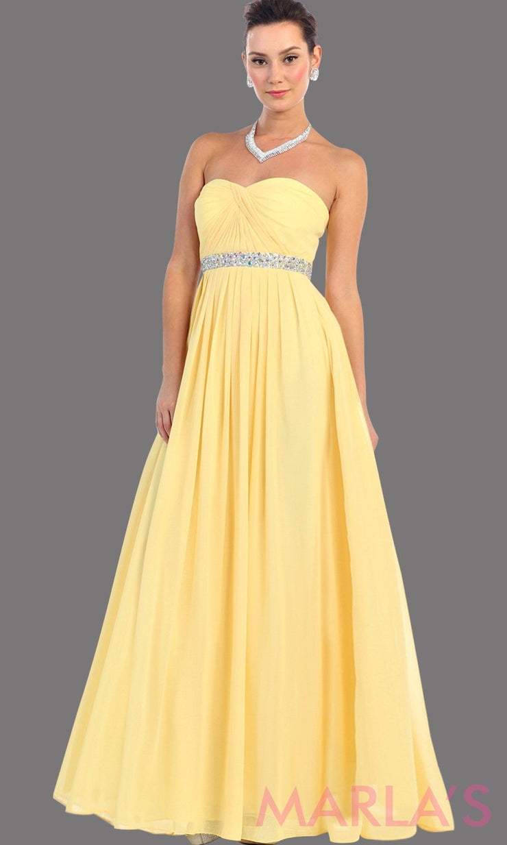 Long Yellow flowy dress with corset back. It has a multicolor rhinestone belt under the bust. Perfect for bridesmaid dresses, simple prom dress, and wedding guest dress. This is available in plus sizes