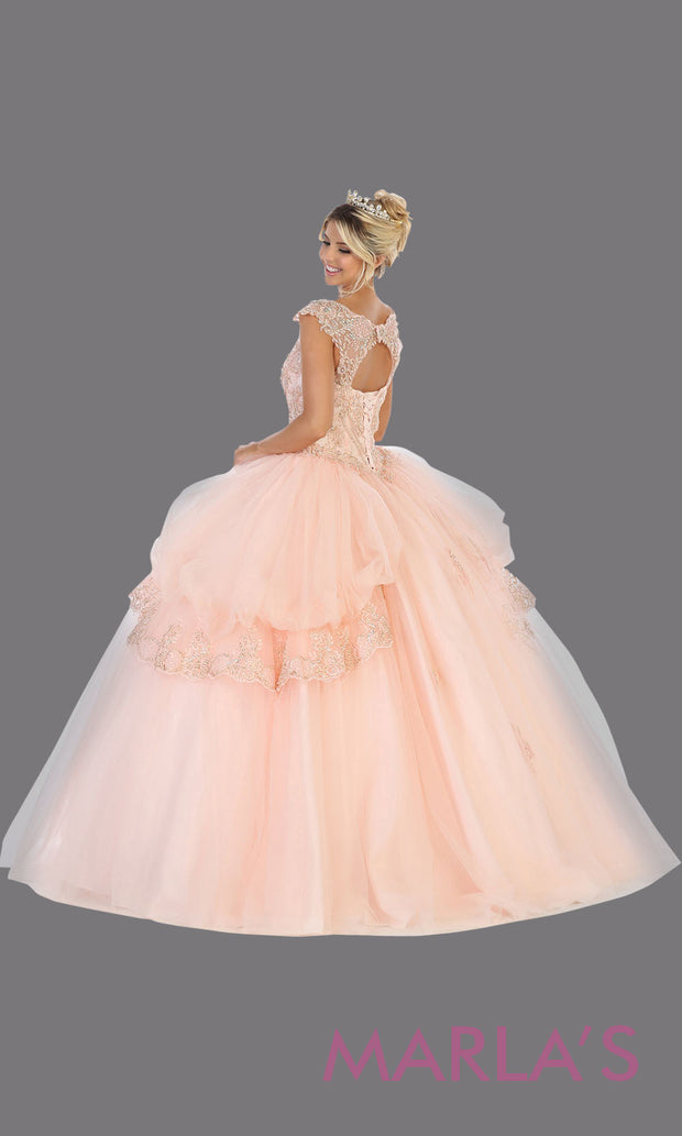 Back of Long light pink princess quinceanera v neck w straps ball gown. Perfect for pink Engagement ballgown dress, Quinceanera, Sweet 16, Sweet 15, Debut and blush pink Wedding bridal Reception Dress. Available in plus sizes.