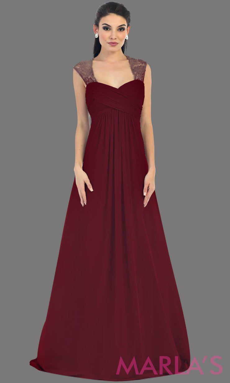 This is a simple long burgandy dress with lace straps. It is a full a-line skirt  and is perfect for your next function. It can be worn as a wedding guest dress, simle dark red prom dress, or even party dress