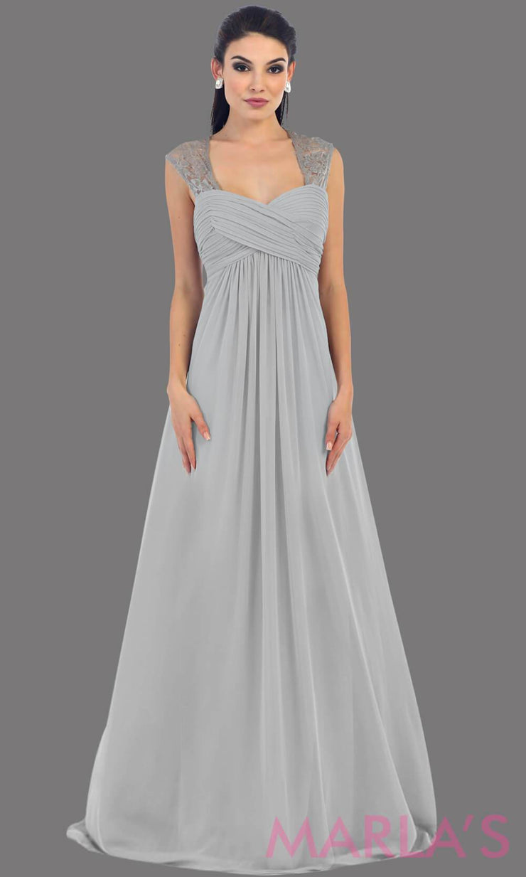 This is a simple long silver dress with lace straps. It is a full a-line skirt  and is perfect for your next function. It can be worn as a wedding guest dress, simle dark red prom dress, or even party dress