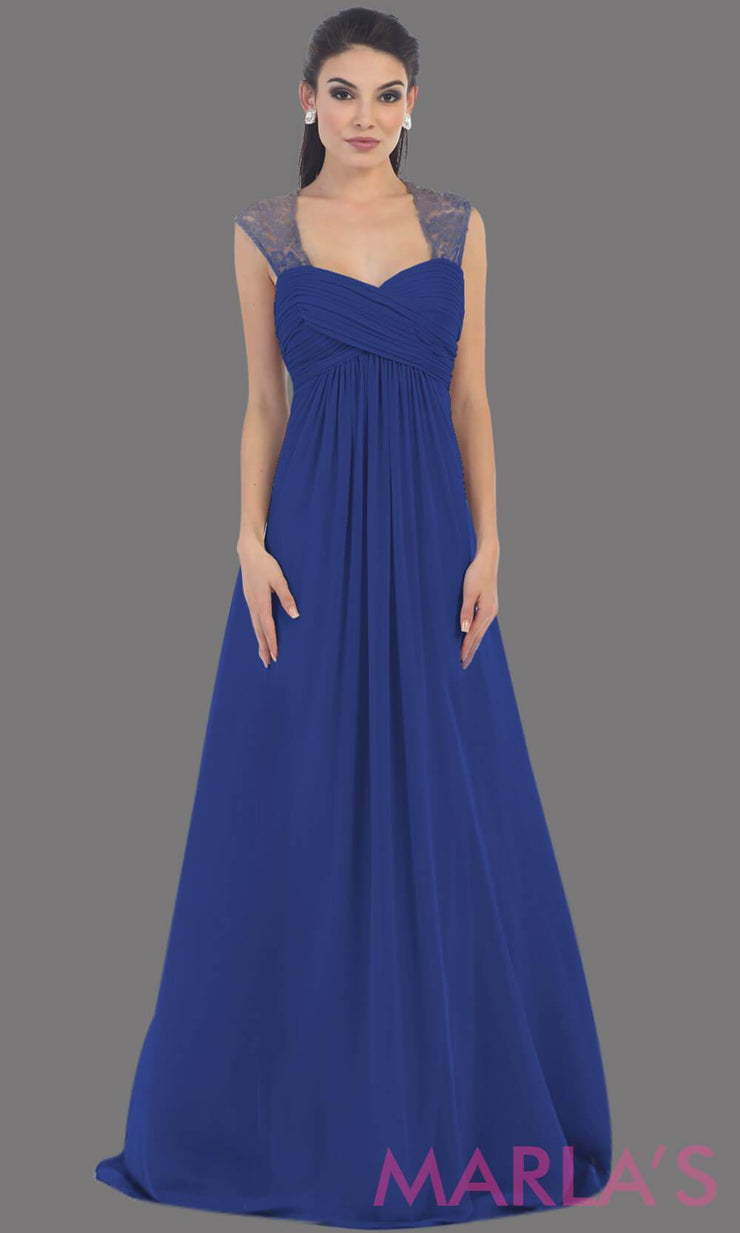 This is a simple long royal blue dress with lace straps. It is a full a-line skirt  and is perfect for your next function. It can be worn as a wedding guest dress, simle dark red prom dress, or even party dress