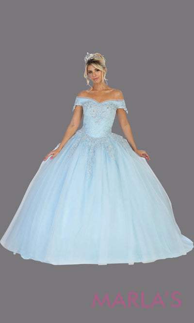 Long baby blue princess quinceanera off shoulder ball gown. Perfect for light blue Engagement ballgown dress, Quinceanera, Sweet 16, Sweet 15, Debut and blue Wedding bridal Reception Dress. Available in plus sizes.