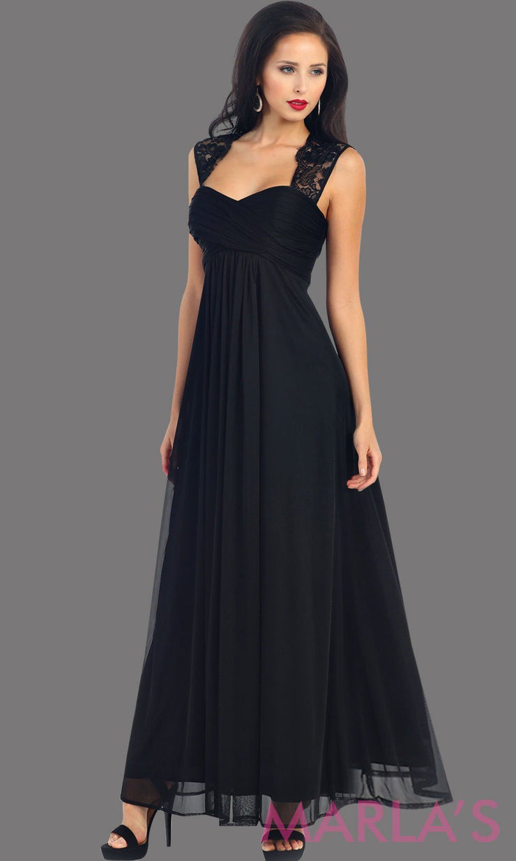 This is a simple long black dress with lace straps. It is a full a-line skirt  and is perfect for your next function. It can be worn as a wedding guest dress, simple black prom dress, or even party dress