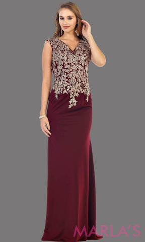 Long burgundy party dress with gold lace. This is a beautiful plus size dress that is perfect as a modest dress, dark red prom dress, wedding guest dress, or a conservative party dress