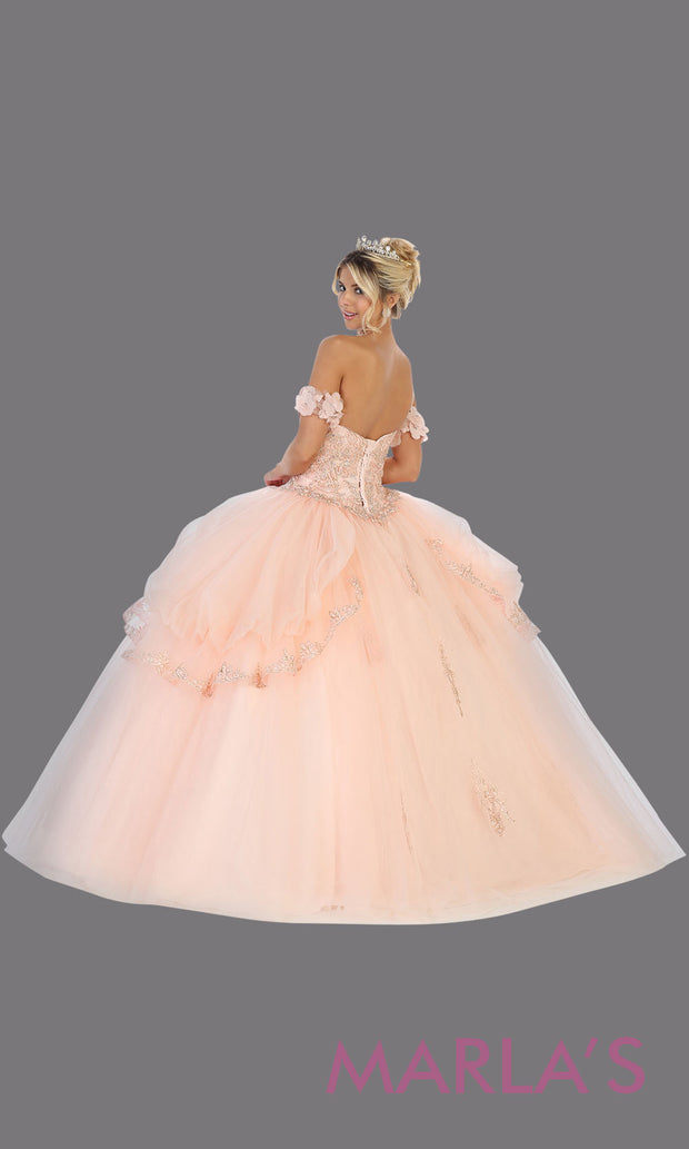 Long blush pink princess quinceanera strapless tube ball gown.Perfect for light pink Engagement ballgown dress, Quinceanera, Sweet 16, Sweet 15, Debut and pink Wedding bridal Reception Dress. Available in plus sizes.