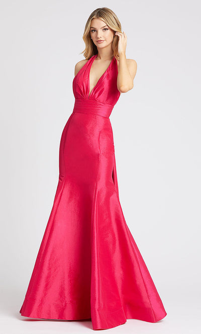 Mac Duggal - 12032L Halter V Neck Mermaid Evening Gown In Pink