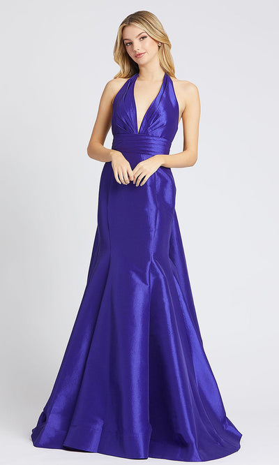 Mac Duggal - 12032L Halter V Neck Mermaid Evening Gown In Purple