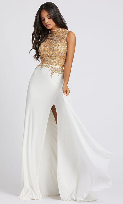 Mac Duggal - 12106A Beaded High Neck Dress With Slit In White & Ivory