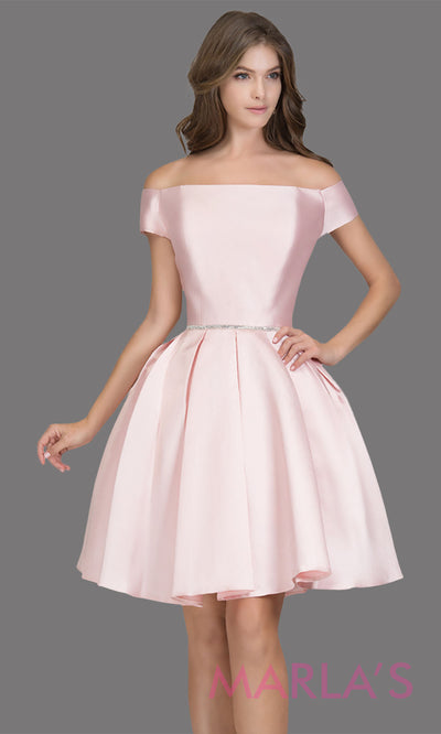 Short off shoulder satin taffeta blush pink grade 8 grad dress with a rhinestone belt. This simple light pink graduation dress is great as quinceanera damas, sweet 16 birthday, bat mitzvah, confirmation, junior bridesmaid. Plus sizes avail