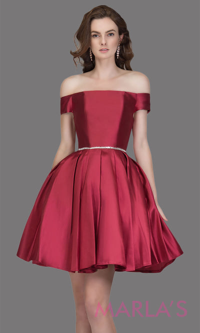 Short off shoulder satin taffeta burgundy red grade 8 grad dress with a rhinestone belt. This simple dark red graduation dress is great as quinceanera damas, sweet 16 birthday, bat mitzvah, confirmation, red junior bridesmaid. Plus sizes avail
