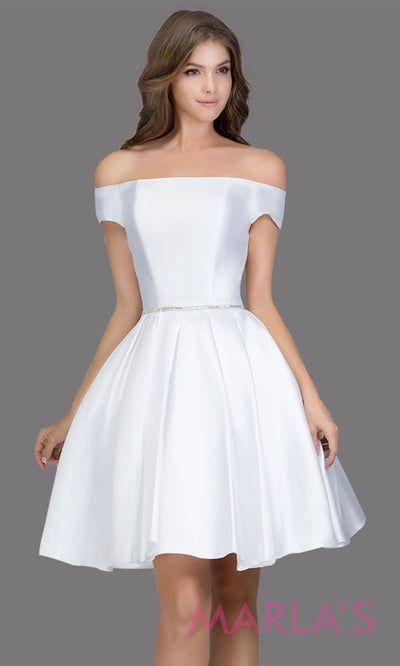 Short off shoulder satin taffeta white grade 8 grad dress with a rhinestone belt. This simple bridal white graduation dress is great as quinceanera damas, sweet 16 birthday, bat mitzvah, confirmation, white junior bridesmaid. Plus sizes avail
