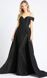 Mac Duggal - 12123L Embossed Off Shoulder Overskirt Dress In Black