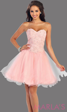 Short strapless blush sweetheart dress with a puffy skirt. The beaded sequin bodice has a corset back. This pink dress is perfect for grade 8 graduation, damas, homecoming or birthday party. Avail in plus sizes