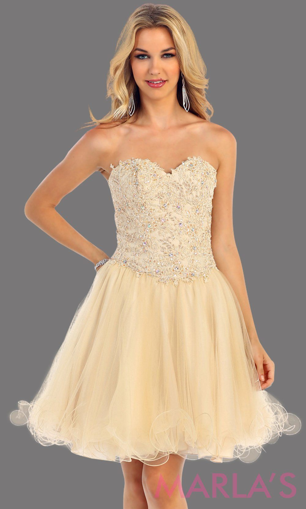 Champagne Short Puffy Strapless Dresses