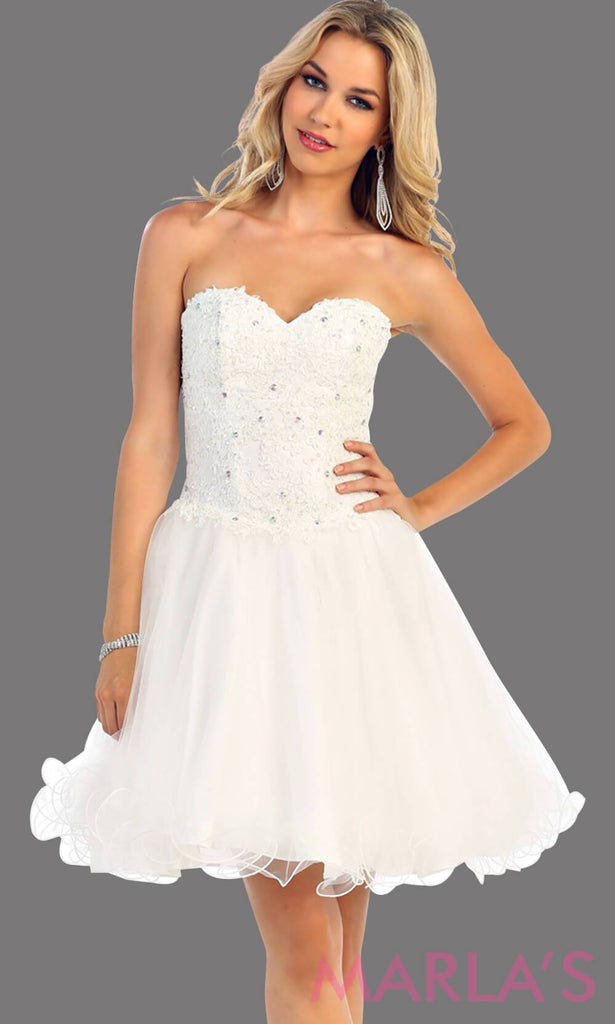 Ivory Short Puffy Strapless Dresses