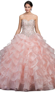 Dancing Queen - 1216 Strapless Bejeweled Tiered Ballgown In Pink