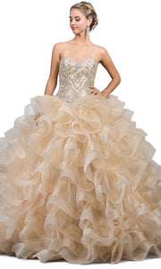 Dancing Queen - 1216 Strapless Bejeweled Tiered Ballgown In Champagne & Gold