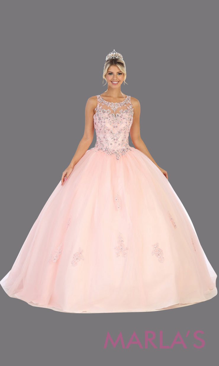 Long blush pink princess quinceanera high neck ball gown.Perfect for light pink Engagement ballgown dress, Quinceanera, Sweet 16, Sweet 15, Debut and pink Wedding bridal Reception Dress. Available in plus sizes