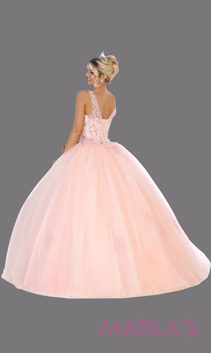 Back of Long blush pink princess quinceanera high neck ball gown.Perfect for light pink Engagement ballgown dress, Quinceanera, Sweet 16, Sweet 15, Debut and pink Wedding bridal Reception Dress. Available in plus sizes