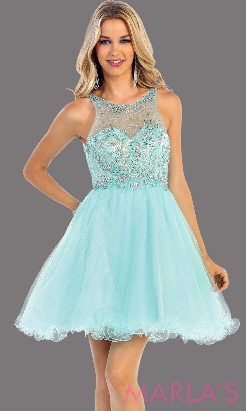 Short aqua dress with a high neck beaded bodice. It flows into a full tulle skirt. This light blue dress is perfect for grade 8 graduation, homecoming, or damas. Available in plus sizes