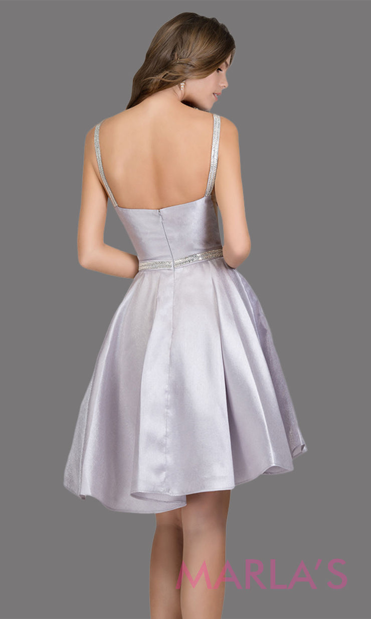 Back Short high neck satin taffeta silver grade 8 grad dress with deep v neck. This simple light grey graduation dress is great as quinceanera damas, sweet 16 birthday, bat mitzvah, confirmation, light gray junior bridesmaid. Plus sizes avail