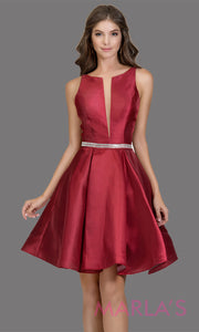 Short high neck satin taffeta burgundy red grade 8 grad dress with deep v neck. This simple dark red graduation dress is great as quinceanera damas, sweet 16 birthday, bat mitzvah, confirmation, maroon junior bridesmaid. Plus sizes avail.