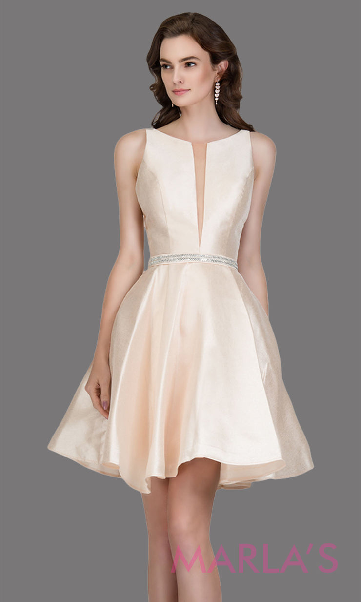 Short high neck satin taffeta champagne grade 8 grad dress with deep v neck. This simple light gold graduation dress is great as quinceanera damas, sweet 16 birthday, bat mitzvah, confirmation, neutral junior bridesmaid. Plus sizes avail