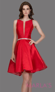 Short high neck satin taffeta red grade 8 grad dress with deep v neck. This simple red graduation dress is great as quinceanera damas, sweet 16 birthday, bat mitzvah, confirmation, baby red junior bridesmaid. Plus sizes avail