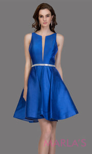 Short high neck satin taffeta royal blue grade 8 grad dress with deep v neck. This simple royal blue graduation dress is great as quinceanera damas, sweet 16 birthday, bat mitzvah, confirmation, royal blue junior bridesmaid. Plus sizes avail
