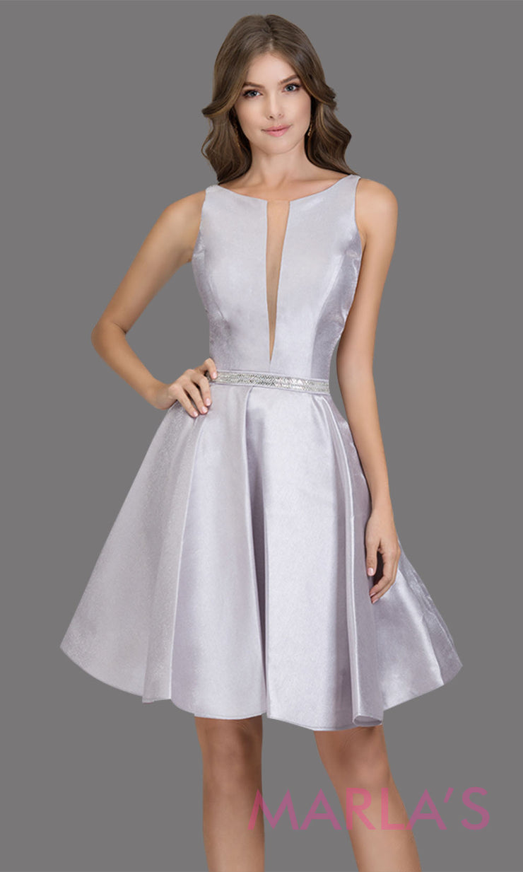 Short high neck satin taffeta silver grade 8 grad dress with deep v neck. This simple light grey graduation dress is great as quinceanera damas, sweet 16 birthday, bat mitzvah, confirmation, light gray junior bridesmaid. Plus sizes avail