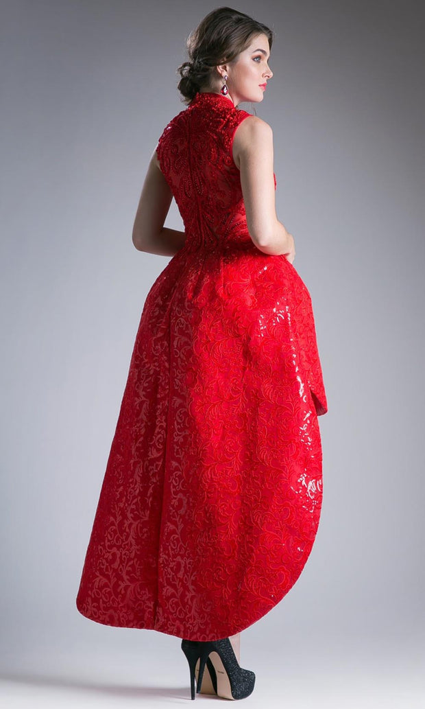 Cinderella Divine - 12228 Beaded High-Low Ballgown In Red