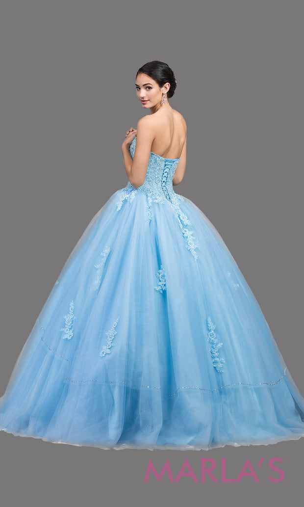 Back of Long strapless periwinkle blue quinceanera ballgown with lace. This light blue ball gown can be worn for Sweet 16 Birthday,Sweet 15, Engagement Ball Gown Dress, Wedding Reception Dress,Debut or 18th Birthday, or indowestern gown.Plus sizes avail.